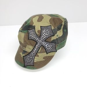 Olive & Pique Adjustable Bling Cross Cadet Cap